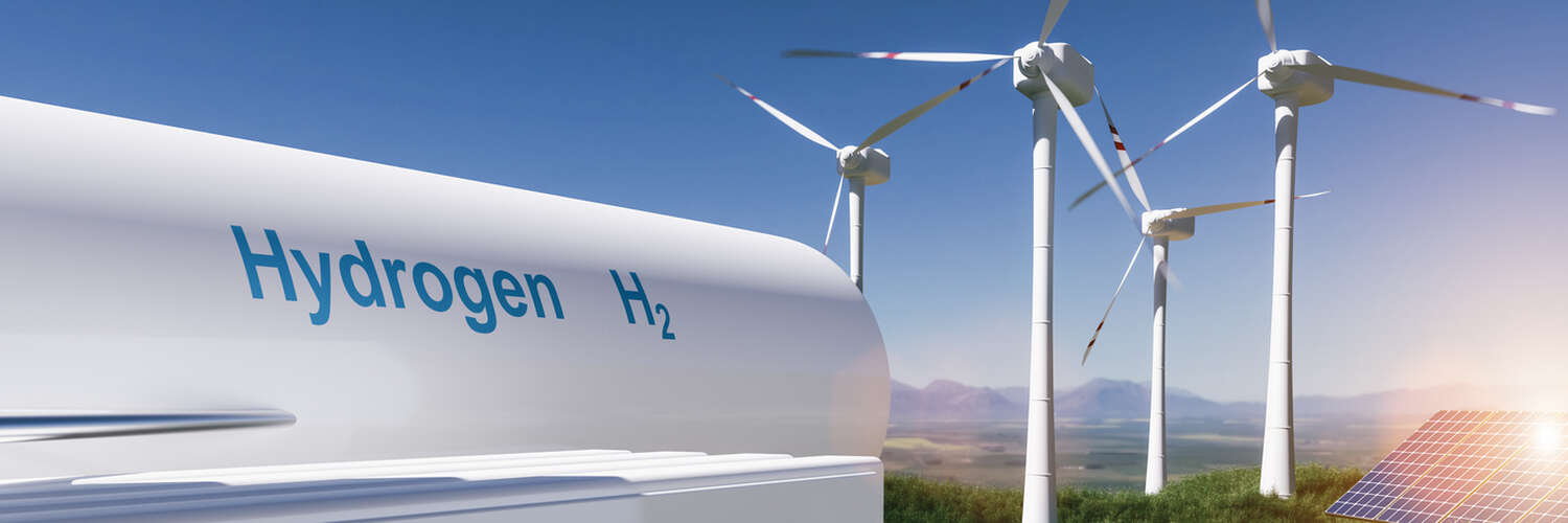 Hydrogen, wind turbines and solar array graphic