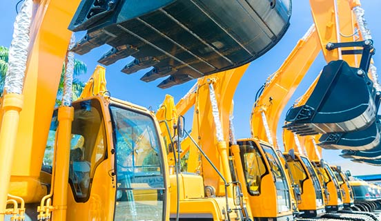 Excavators lined up